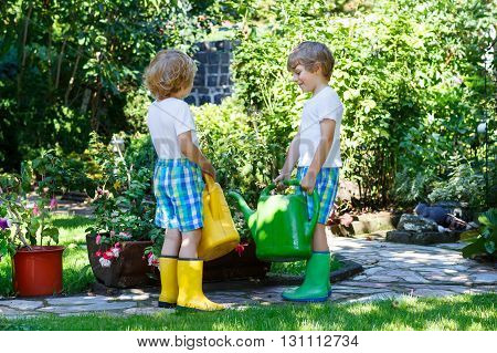 Two little kid boys watering plants and vegetables with can in  garden. Children, friends helping and having fun on warm summer day. Family, garden, gardening, lifestyle