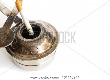 cigarette and ashtray. Some man like smoking in work time for make idea. Isolated on white background (select focus cigarettes)