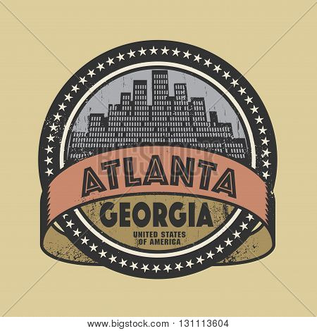 Grunge rubber stamp or label with name of Atlanta, Georgia, vector illustration