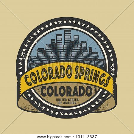 Grunge rubber stamp or label with name of Colorado Springs, Colorado, vector illustration