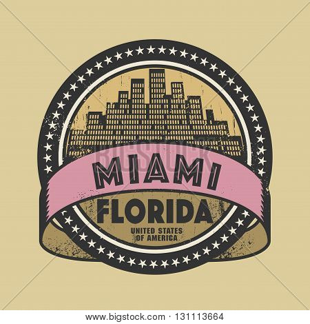 Grunge rubber stamp or label with name of Miami, Florida, vector illustration