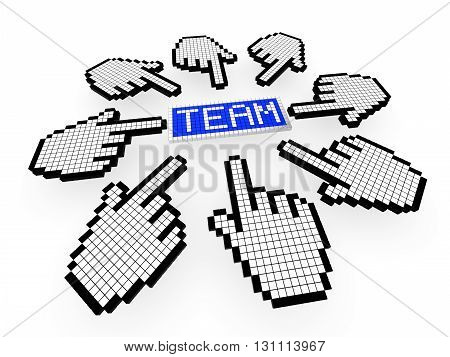 Multiple pixel cursor icons pointing to a team sign on white 3D illustration of teamwork and online collaboration