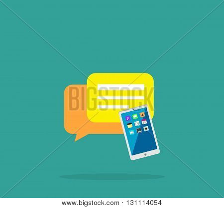 Contact concept message and speech bubble. Conceptual banner envelope contacts and message smartphone. Incoming and outbox alerts. Digital communication dialogue correspondence. Vector illustration