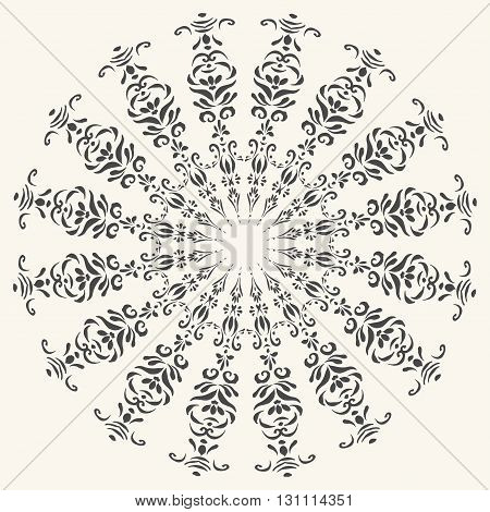 Oriental decorative element. Hand drawn round frame mandala.