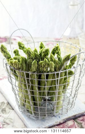 Green Asparagus in Basket