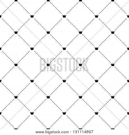 Crowns vector seamless design pattern. Modern stylish texture. Black and white simple print.