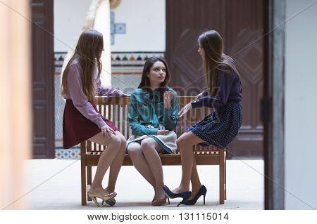 Three attractive elegant women on bench making conversation