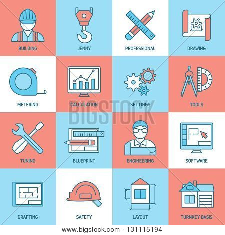 Engineering and blueprint icons set with safety tuning software meter building drafts calculation crane isolated vector illustration