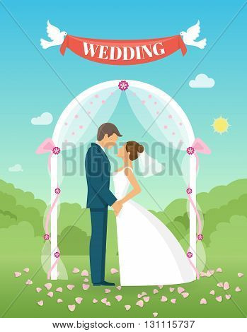 Flat wedding composition two people who are married and on the lawn and doves holding ribbon vector illustration