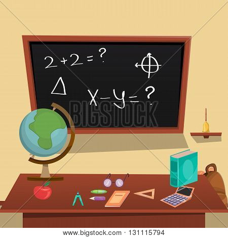Education Concept with description of classroom with board and accessories of students and teachers vector illustration