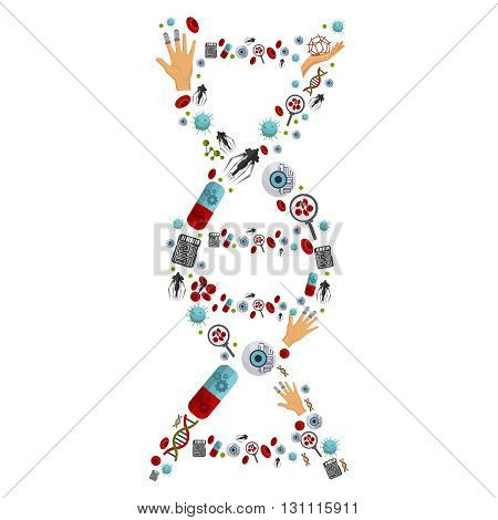 Nanotechnology icon flat set with many icons grouped in the form of DNA vector illustration