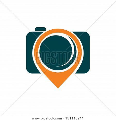 Illustration of Camera Place Map Pin Symbol
