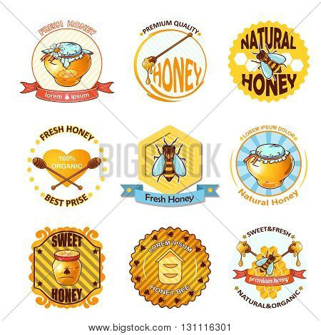 Set of honey emblems or different sizes logotypes with ribbons and titles vector illustration