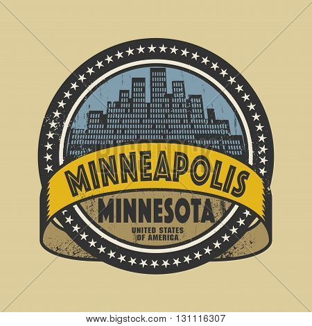 Grunge rubber stamp or label with name of Minneapolis, Minnesota, vector illustration