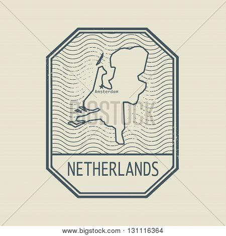 Stamp with the name and map of Netherlands, vector illustration