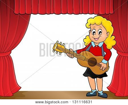 Girl guitar player on stage theme 1 - eps10 vector illustration.