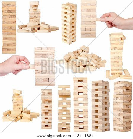 Collection of images related to wooden tower blocks game isolated on white background