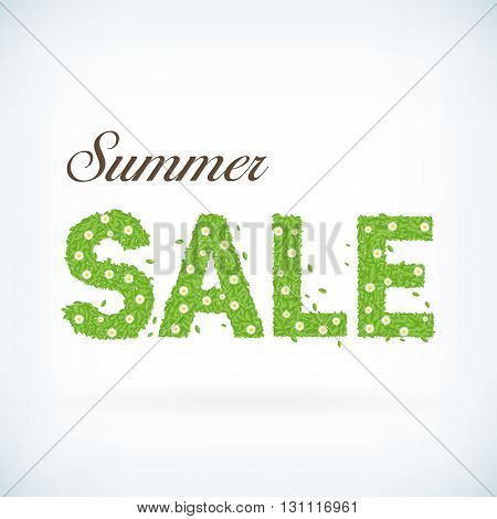 Seasonal summer sale business advertisement text created with leafs and flowers. Vector business summer sale background. Detailed summer sale poster.