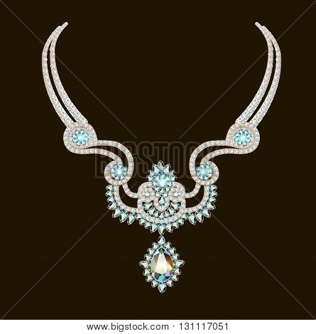 vector illustration beautiful necklace woman of brilliant gems