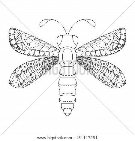 Cute cartoon dragonfly with ornament. Background cover. Design for coloring page
