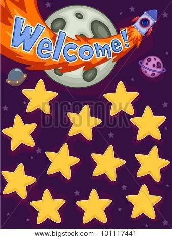 Illustration Featuring Planets and Stars as Name Board