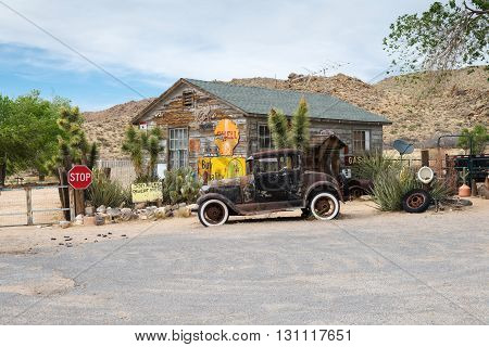 ARIZONA USA - APRIL 23 2014: popular museum of old Route 66 - Hackberry general store
