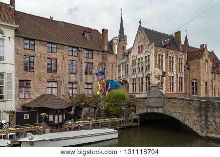 jetty on the a canal in Bruges city center Belgium