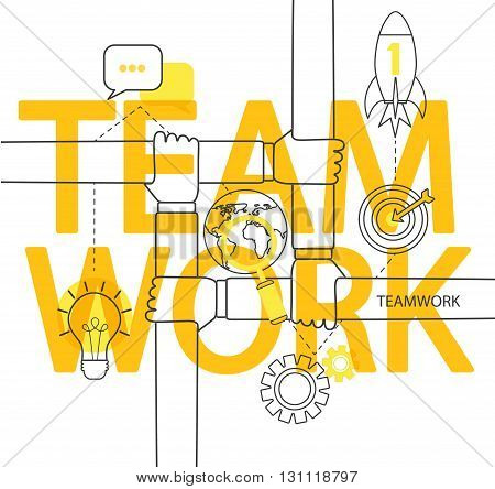 Modern thin line infographic of teamwork concept. For web, internet, mobile apps, interface design.