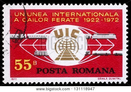 ZAGREB, CROATIA - JULY 19: a stamp printed in Romania shows 50 years of International Railroad Union, circa 1972, on July 19, 2012, Zagreb, Croatia