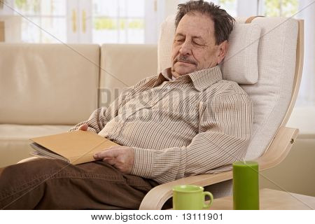 Senior man lying in armchair, fell asleep while reading book.?