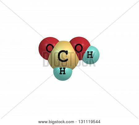 Formic acid - methanoic acid - is the simplest carboxylic acid. Its chemical formula is HCOOH or HCO2H. 3d illustration