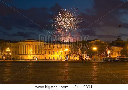 Saint-Petersburg, Russia - May 16, 2006: Fireworks over Main admiralty, General staff of the Navy. Evening view