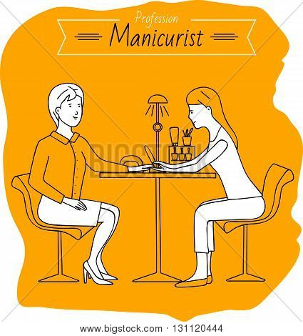 Profession manicurist. Woman doing manicure. Job. Beauty saloon.