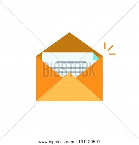 Envelope open vector icon isolated on white, orange envelope open with letter