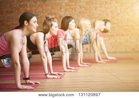 Cheerful slim girls are going for sports. They are doing push-ups and smiling