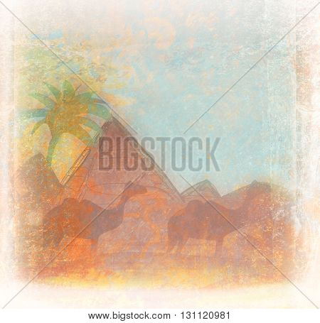 pyramid and camel silhouette landscape Egypt design