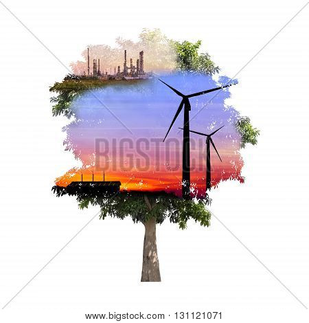 double exposure of tree used for carbon credits concept
