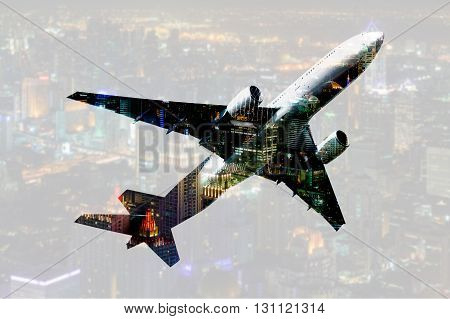 double exposure commercial airplane with blur cityscape background