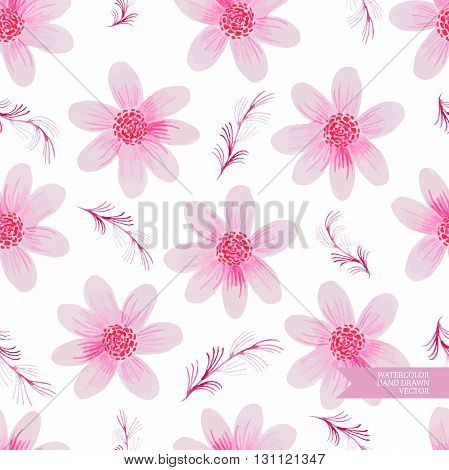 Watercolor hand drawn and painted seamless flower pattern. Vintage flower design for greeting cards an wedding invitations.