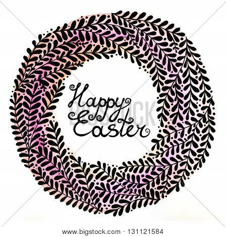 Happy Easter. Abstract floral wreath with black beautiful branches. Floral background for invitations, covers, postcards and ect.