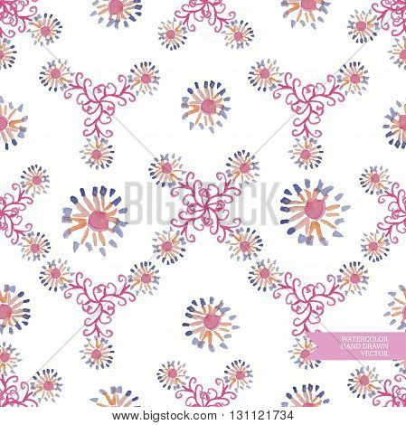 Watercolor hand drawn and painted seamless flower pattern. Vintage flower design for greeting cards or wedding invitations.
