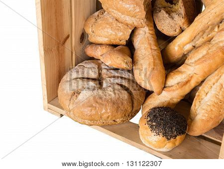 Bread In Wooden Box Isolated On White Background With Clipping Path