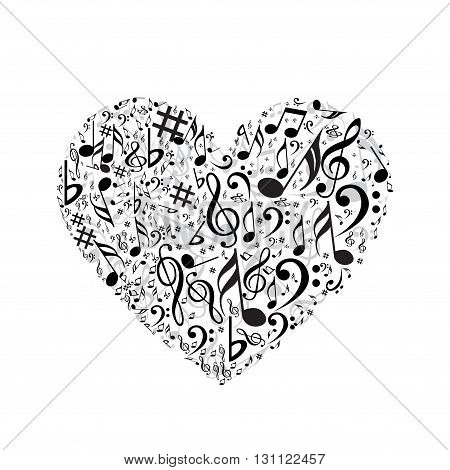 Creative romantic heart with different music symbols
