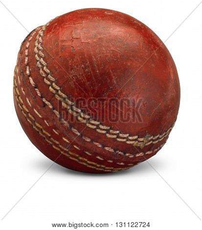 Old worn Cricket Ball on white background with shadow