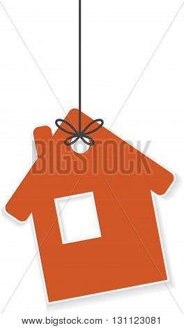 Icon of house hanging on a rope. Vector illustration