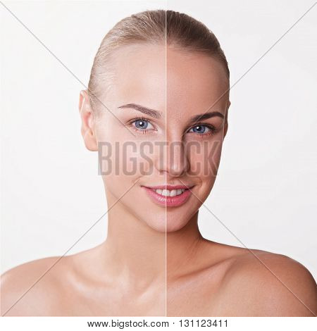 Tan woman before after skin portrait isolated on white background