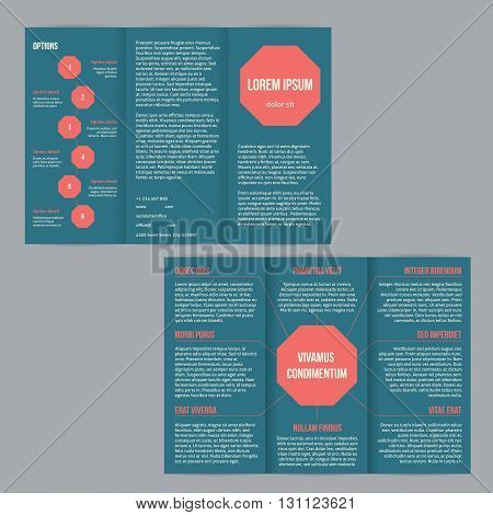 Tri-fold flyer brochure template design with red dots and options