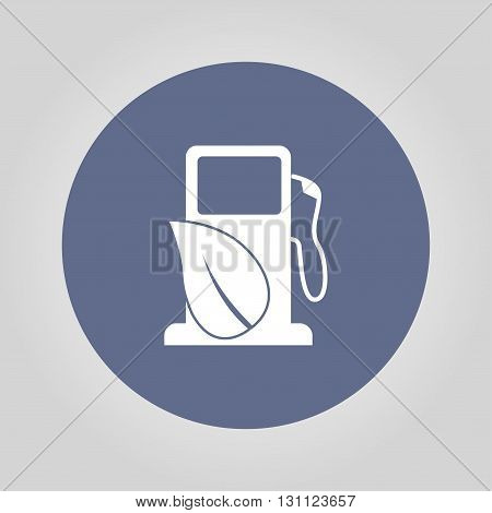 Gas station with leaves icon. Flat design style.