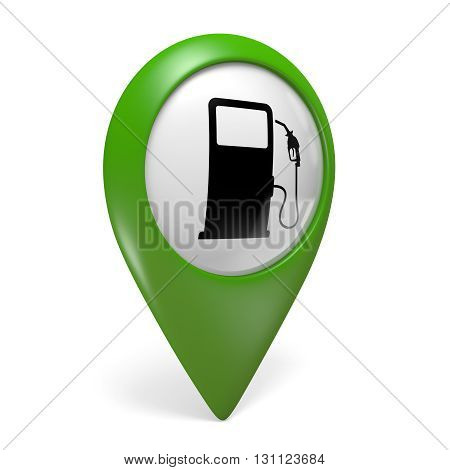 Green map pointer icon with a fuel pump symbol for gas stations, 3D rendering