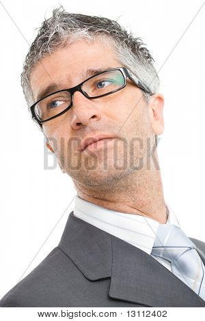 Portrait of serious businessman wearing gray suit with blue tie and glasses. Isolated on white background.?